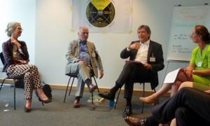 Cornelia Strobel, Othmar Sutrich, Wolfgang Niessner und Susanne Delius im Interview (v.l.n.r.)